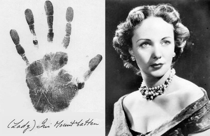 Lady Iris Mountbatten Handprint and Portrait
