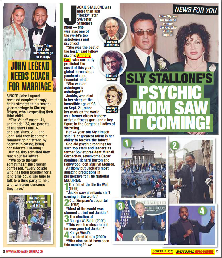 Jacqueline Stallone National Enquirer Article